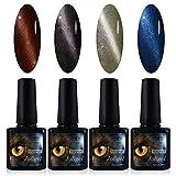 4x Stamping semipermanentes magnetisch, Nagellack Gel Shellac UV LED für Maniküre Pediküre Nail Art 3d, Katzenauge, Magnet Gratis, 10ml, mehrfarbig 12