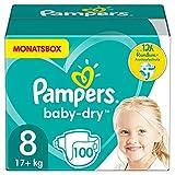 Pampers Windeln Größe 8 (17+kg) Baby Dry, 100 Stück, MONATSBOX, Bis Zu 12Stunden R
