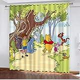 Bfrdollf Winnie The Pooh verdunkelungsvorhang wasserdichter Stoff gardinen für kinderzimmer,Ösen Oben für gardinen?3D-Digitaldruck 100% Polyester (100×140(BxH),11)