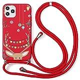 Pnakqil Handykette Schutzhülle für Xiaomi Mi 9 6,39', Hülle mit Kordel zum Umhängen Weiche Silikon TPU Stoßfest Handyhülle mit Weihnachten Cartoon Muster Case für Xiaomi 9, Elch 2