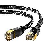 CAT 7 Ethernet Kabel 2m, KINBETA Hochgeschwindigkeit 10Gbps 600Mhz Gigabit Cat7 Internet Netzwerk Ethernetkabel Flach Lan Rj45 Patchkabel Abgeschirmt für Xbox PS3 PS4 PC Laptop Router TV