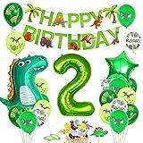 Dinosaurier 2 Geburtstag Dekoration,Luftballon 2. Geburtstagdeko Grün, Dino 2 Deko Kindergeburtstag, Geburtstag 2 Jahr Junge, Dinosaurier Kindergeburtstag 2, Folienballon Zahl 2, Ballon 2 Dek