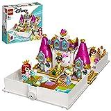 LEGO 43193 Disney Princess Märchenbuch Abenteuer mit Arielle, Belle, Cinderella und Tiana, Spielzeugschloss für Kinder, 4 Micro-Spielfig