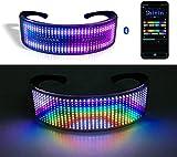 Shineslay Einzigartige LED-Gläser, LED Brille BT APP Steuerung für Party | DIY Flashing Emotions Sonnenbrille für Männer Frauen Kinder | USB wiederaufladb