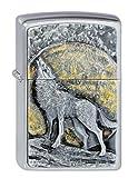 Zippo Feuerzeug 2003038 Wolf at Moonlight Emblem Benzinfeuerzeug, Messing