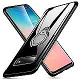 64Gril Kompatibel Samsung Galaxy S10E Hülle Durchsichtig Handyhülle Silikon Schutzhülle Gummi Handy-Schutz Schale Ring Case Halterung Handyschale Magnetische Autohalterung Schutzschale (Schwarz)
