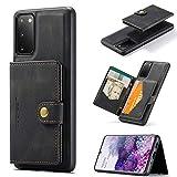 hongping Hülle für Samsung Galaxy S20 5G Handyhülle Leder Handyhülle Brieftasche Schutzhülle Brieftasche [Kartensteckplatz] [abnehmbare Magnethülle] mit Kreditkartenhaltern -schw