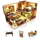 Cuteefun DIY Miniatur Puppenhaus Kit zum BAU Miniatur Haus mit Musik Staubschutz und Möbeln Selber Bauen Kreative Bastelgeschenke für Frauen (Quite Time)
