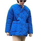 Pupuzizilili Damen Einreihige Winterjacke Mit GroßEn Taschen, Helle Und Einfarbige Jacke, Rundhalsausschnitt, LangäRmelige Mode Einfache Jacke (Blue, X-Large)
