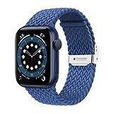 Elastisches Nylonarmband Geeignet for Apple Watch Strap 38mm 40mm 42mm 44mm Einstellbare Größe Geflochtene Schleife Gurt Geeignet for iWatch Series 6 SE 5 4 3 (Color : Blau, Size : 42mm and 44mm)