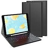 TASTATUR Kompatibel iPad 9/8/7 Generation (Modell 2021/2020/2019) Beleuchtete Tastatur mit Trackpad, (Deutsches QWERTZ) Tastatur Hülle für iPad 10,2 Tastatur, iPad Air 3 Tastatur, Schw