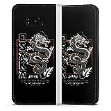 DeinDesign Klapphülle kompatibel mit Samsung Galaxy S8 Plus Duos Flip Case Handyhülle aus Kunst Leder weiß Japan Drache M