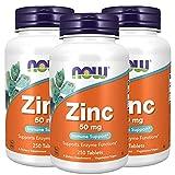 3x NOW Foods Zink | 50mg hochdosiert | 250 Tabletten je Dose (insg. 750 Stück) | Haut Haare Nägel vegan Immunsystem Knochen | Nahrungsergänzungsmittel (3er Pack)