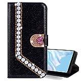 Nadoli Leder Hülle für Galaxy J5 2017,Luxus Bling Glitzer Diamant 3D Handyhülle im Brieftasche-Stil Perle Herz Flip Schutzhülle Etui für Samsung Galaxy J5 2017,Schw