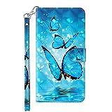 TYWZ Kompatibel mit Samsung Galaxy A42 Hülle,PU Leder Hülle Wallet Flip Case Cover Schutzhülle Handyhüllen Schale mit Ständer Kartenfach Magnetisch-Blau Schmetterling