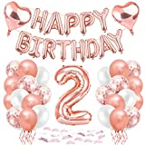 Bluelves Geburtstagsdeko 2 Jahr Mädchen,2 Geburtstag Deko,2. Geburtstag Dekoration, 2 Jahr Geburtstag mädchen, Riesen Folienballon 2 Rosegold, Ballon 2 Deko zum Geburtstag, Deko 2 Geburtstag M