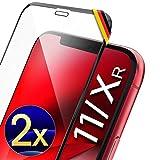UTECTION 2X Full Screen Schutzglas 3D für iPhone XR & iPhone 11 (6.1') - Perfekte Anbringung Dank Rahmen - Premium Displayschutz 9H Glas - Kompletter Schutz Vorne - Folie Schutzfolie Schwarz C