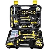 WMC TOOLS Werkzeug Set gefüllt 100 teilig Werkzeugkoffer bestückt Werkzeug komplett mit Nuss Zangen Säge Schraubendreher und viel mehr Werkzeugset H
