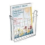 iDesign Zeitschriftensammler, kleiner Zeitungshalter für die Wand aus Metall, wandmontierter Zeitungsständer perfekt für das Badezimmer, silberfarb