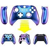eXtremeRate Hülle Case Cover Matt Gehäuse Schutzhülle Schale Faceplates mit 2 Griff Seitenteilen für Xbox One S/Xbox One X Controller(Lila Blau)
