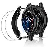 Miimall [2+2 Stück Kompatibel mit Samsung Galaxy Watch 4 Classic 46mm 42mm Hülle mit Panzerglas Schutzfolie, Weiche TPU Schutzhülle Kratzfest Stoßfest Schutz Case für Galaxy Watch 4 Classic - Schw