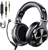 OneOdio Kopfhörer mit Mikrofon Headset mit Kabel Wired PC Headphone mit Boom Mic für Handy und PC HiFi Studio Over Ear DJ Kopfhörer Adapter-frei mit 6,35mm & 3,5mm B