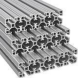 Ulber24- Aluprofil 40x40 Nut8 Typ I,12x2m=24m Aluminium- Konstruktion- Montage- System- 4040 Alu Schiene Stecksystem Vierkant Profil I-Typ Nut 8 Wink
