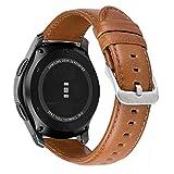 MroTech Lederamrband Gear S3 Armband echtes Leder 22mm Ersatzarmband kompatibel für Samsung Gear S3 Frontier/Classic,Galaxy Watch 46mm, Pebble Time, Huawei Watch 2 Classic Uhrenarmbänder (Braun, L)