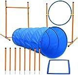 Ausrüstung für den Agility-Kurs für Hunde, Starter-Kit für das Agility-Training für Hunde, Spiele für Haustiere im Freien - Hundetunnel, 8-teilige Webstangen, Springring, Hochsprünge, Pausenbox