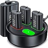 Controller Wiederaufladbaren Akku für Xbox One/Xbox Series X/S, Controller Station with 4X 1200mhA Xbox One Wiederaufladbaren Akku, Ladegerät Kit mit Xbox Series Battery Akku für Xbox One/One S/ E