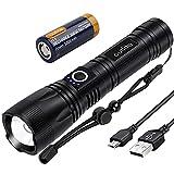 outlite 10000 Lumen Taschenlampe, LED Taschenlampe Extrem Hell 5000mAh USB Aufladbar 26650 Batterie Enthalten, 5 Lichtmodi, Zoombar, Lange Arbeitszeit Taktische Taschenlamp