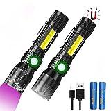 3 In 1 UV Taschenlampe LED (mit 3000mAh 18650 Akku), Taktische Taschenlampe USB Aufladbar, Starke Magnete COB Arbeitsleuchte mit Rotlicht, iToncs 395nm UV Lampe Licht für Banknoten, Urin von H
