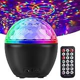 Sound Aktivierte Discokugel, Partylicht mit Fernbedienung, RGB ändernde Rotierende Discolicht mit Bluetooth Lautsprecher für DJ, Weihnachten, Hochzeit, Club Tanzparty