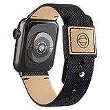 Goosehill Kompatibel mit Apple Watch Armband,Stoff Nylon Gewebt Ersatzband mit Leder Futter und Druckverschluss für iWatch Series 6/5/4/3/2/1 SE, Schwarz 42mm/44