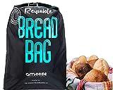 Ameeze Brotbeutel - die Brottasche, der Brotsack ist wiederverwendbar - der Brotbeutel ist zur Aufbewahrung, Frischhalten und Einfrieren geeignet - ÖKO TEX® Standard (schwarz)