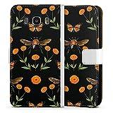 DeinDesign Klapphülle kompatibel mit Samsung Galaxy J5 Duos (2016) Handyhülle aus Leder weiß Flip Case Blumen Biene N
