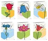 48 umweltfreundliche Blanko Grußkarten mit hell gezeichneten Blumenmotiven und recycelten Umschläg
