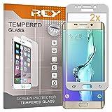 REY Pack 2X Panzerglas Schutzfolie für Samsung Galaxy S6 Edge Plus - Edge+, Silber, Displayschutzfolie 9H+, Polycarbonat, Härte, Anti-Kratzen, Anti-Öl, Anti-Bläschen, 3D / 4D / 5D