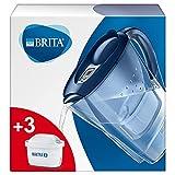 Brita 1030090 Wasserfilter Marella blau inkl. 3 MAXTRA+ Filterkartuschen – BRITA Filter Starterpaket zur Reduzierung von Kalk, Chlor, Blei, Kupfer & geschmacksstörenden Stoffen im W