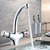 Wasserhahn 2-Griff Waschtischarmatur Bad Retro Thermostat Mischbatterie für Küche Waschraum B