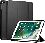 Fintie SlimShell Hülle für iPad 9.7 2018 - Superleicht Soft TPU Rückseite Abdeckung Schutzhülle mit eingebautem Apple Pencil Halter, Auto Schlaf/Wach für iPad 6. Generation, Schw