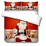 Bettwäsche Set mit Weihnachtsmann. Weihnachten Weiche Mikrofaser Bettbezüge 200 x 200 mit Reißverschluss + 2 Kissenbezug