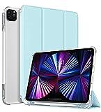 TiMOVO Hülle für New iPad Pro 11 2021 (3rd Gen), TPU Transluzenter Schutzhülle Rückendeckel Faltbar Magnetisch Case mit Stifthalter Kompatibel mit iPad Pro 11' 2021 - Himmelb