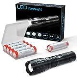 Handheld-Taschenlampe Super Bright LED Tactical Flashlight Zoombare Lampenlampe - mit 4x18650 wiederaufladbarer Batterie 3,7 V Knopfbatterie für Radfahren Wandern Camping Notfall (rot)