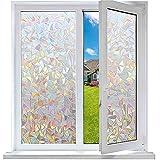 Funfox 3D Regenbogen Fensterfolie Blickdicht Sichtschutzfolie Regenbogeneffekt Fensterfolie Anti-UV Statisch Fenster Folie ohne Klebstoff Dekorfolie 44.5 x 200