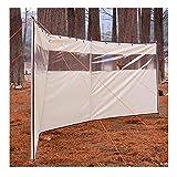 koncy Windschutz Strand, Camping Windschutz Sichtschutz 4,4 x 1,3 m mit Metallstab und Kordelzug, Campingkocher Windschutz (Color : Beige)