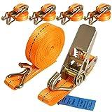 4 Stück 400/800kg 4m Spanngurte mit Ratsche 2 teilig zweiteilig mit Haken Ratschengurt Zurrgurte schwarz 25mm (Orange)