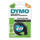 DYMO LetraTag Etikettenband Authentisch | schwarz auf weiß | 12 mm x 4 m | selbstklebendes Kunststoffetiketten | für LetraTag-Etikettierg