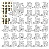 30 Stück Edelstahl Winkelverbinder 36 X 27 mm, 90 Grad L Klammern Winkel, Schwerlast Metallwinkel, mit 120 M4 Schrauben, für Holzmöbel, Tabelle, Tisch, Stuhl, Bücherregal, Schränk