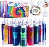 Joy joz Tie Dye Kit 18 Farben, 166 Stück Tie Dye Permanent Set mit 32 Pigmentbeuteln, Gummibändern, Handschuhen, Schürze und Tischdecken für Craft Arts Fabric Textile Party DIY Handmade (80ML)